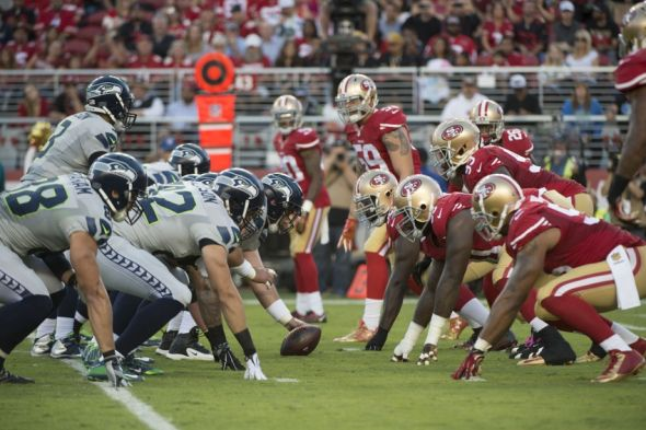October 22, 2015; Santa Clara, CA, USA; General view of the line of scrimmage between the San Francisco 49ers and the Seattle Seahawks during the first quarter at Levi's Stadium. Mandatory Credit: Kyle Terada-USA TODAY Sports