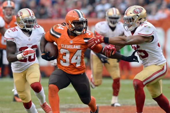 Dec 13, 2015; Cleveland, OH, USA; Cleveland Browns running back Isaiah Crowell (34) is chased by San Francisco 49ers cornerback Tramaine Brock (26) and free safety Eric Reid (35) during a 54 yard run during the fourth quarter at FirstEnergy Stadium. Mandatory Credit: Ken Blaze-USA TODAY Sports