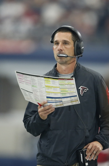Sep 27, 2015; Arlington, TX, USA; Atlanta Falcons offensive coordinator Kyle Shanahan on the sidelines against the Dallas Cowboys at AT&T Stadium. Mandatory Credit: Matthew Emmons-USA TODAY Sports