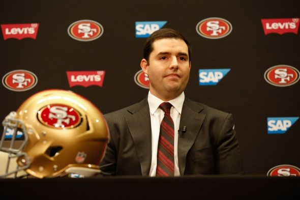 Jan 15, 2015; Santa Clara, CA, USA; San Francisco 49ers owner Jed York looks on during a press conference to introduce Jim Tomsula as head coach of the San Francisco 49ers at Levi's Stadium Auditorium. Mandatory Credit: Kelley L Cox-USA TODAY Sports
