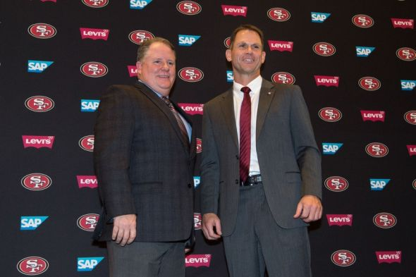 January 20, 2016; Santa Clara, CA, USA; Chip Kelly (left) and San Francisco 49ers general manager Trent Baalke (right) pose for a photo in a press conference after naming Kelly as the new head coach for the San Francisco 49ers at Levi's Stadium Auditorium. Mandatory Credit: Kyle Terada-USA TODAY Sports