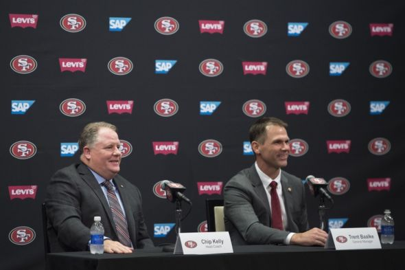 January 20, 2016; Santa Clara, CA, USA; Chip Kelly (left) and San Francisco 49ers general manager Trent Baalke (right) address the media in a press conference after naming Kelly as the new head coach for the 49ers at Levi's Stadium Auditorium. Mandatory Credit: Kyle Terada-USA TODAY Sports