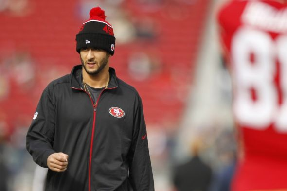 Jan 3, 2016; Santa Clara, CA, USA; San Francisco 49ers quarterback Colin Kaepernick (7) walks on the field before the start of the game against the St. Louis Rams at Levi's Stadium. Mandatory Credit: Cary Edmondson-USA TODAY Sports
