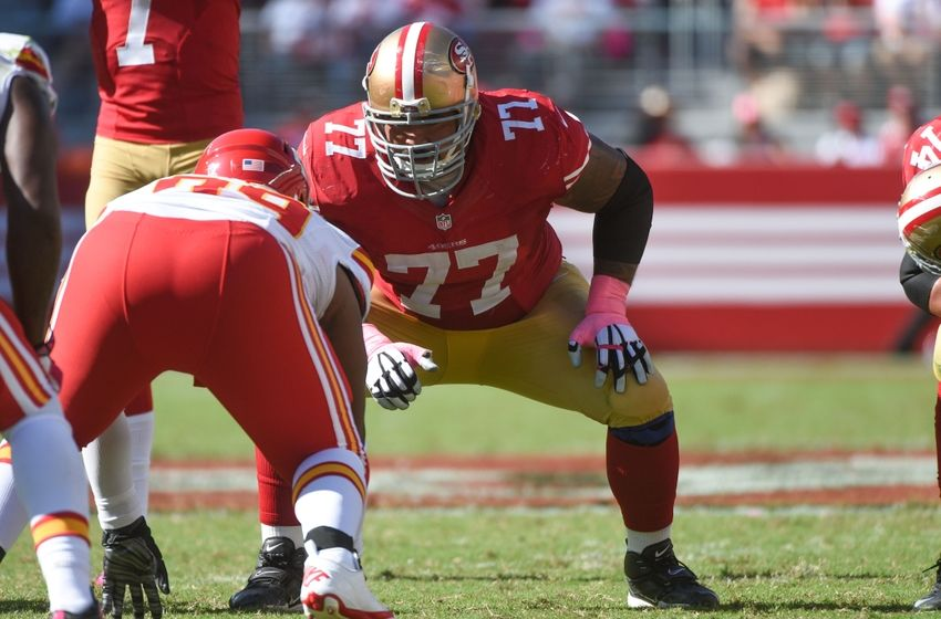October 5, 2014; Santa Clara, CA, USA; San Francisco 49ers guard Mike Iupati (77) lines up during the third quarter against the Kansas City Chiefs at Levi's Stadium. The 49ers defeated the Chiefs 22-17. Mandatory Credit: Kyle Terada-USA TODAY Sports