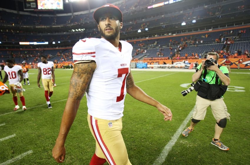 Aug 29, 2015; Denver, CO, USA; San Francisco 49ers quarterback Colin Kaepernick (7) walks off the field after the game against the Denver Broncos at Sports Authority Field at Mile High. The Broncos won 19-12. Mandatory Credit: Chris Humphreys-USA TODAY Sports
