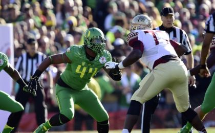 January 1, 2015; Pasadena, CA, USA; Oregon Ducks defensive lineman DeForest Buckner (44) against the Florida State Seminoles in the 2015 Rose Bowl college football game at Rose Bowl. Mandatory Credit: Gary A. Vasquez-USA TODAY Sports