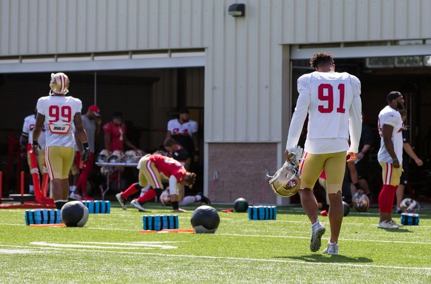 Aug 4, 2016; Santa Clara, CA, USA; San Francisco 49ers defensive end Arik Armstead (91) and defensive end DeForest Buckner (99) walk out for training at SAP Performance Facility. Mandatory Credit: John Hefti-USA TODAY Sports
