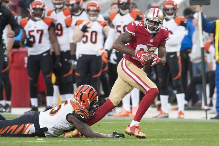 Dec 20, 2015; Santa Clara, CA, USA; San Francisco 49ers wide receiver Torrey Smith (82) runs after the catch during the fourth quarter of the game against the Cincinnati Bengals at Levi's Stadium. The Cincinnati Bengals defeated the San Francisco 49ers 24-14. Mandatory Credit: Ed Szczepanski-USA TODAY Sports