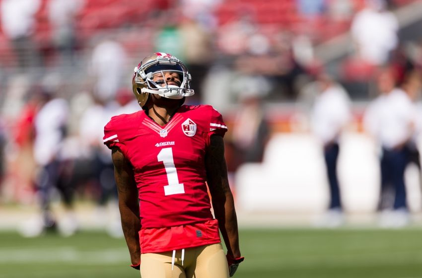 Aug 14, 2016; Santa Clara, CA, USA; San Francisco 49ers wide receiver Bryce Treggs (1) warms up before the game against the Houston Texans at Levi's Stadium. Houston defeated San Francisco 24-13. Mandatory Credit: John Hefti-USA TODAY Sports