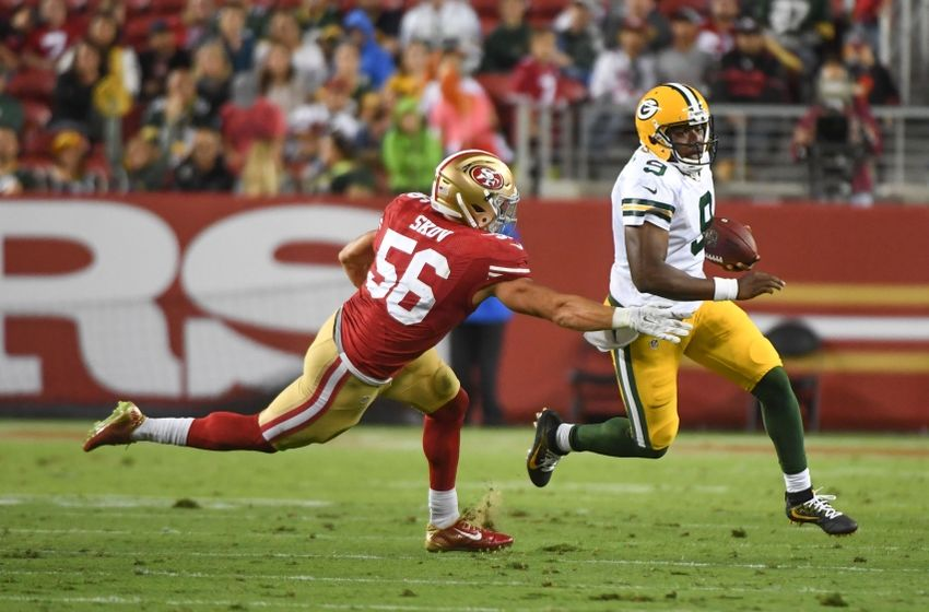 August 26, 2016; Santa Clara, CA, USA; Green Bay Packers quarterback Marquise Williams (9) runs with the football past San Francisco 49ers linebacker Shayne Skov (56) during the fourth quarter at Levi's Stadium. Mandatory Credit: Kyle Terada-USA TODAY Sports