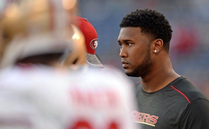 Sep 1, 2016; San Diego, CA, USA; 49ers defensive end DeForest Buckner (99) looks on before the game against the San Diego Chargers at Qualcomm Stadium. Mandatory Credit: Jake Roth-USA TODAY Sports