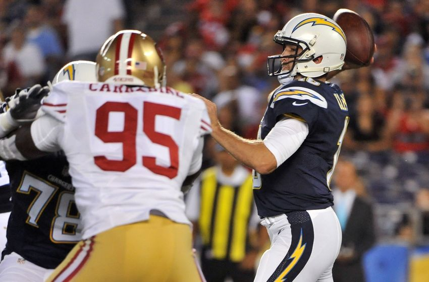 Sep 1, 2016; San Diego, CA, USA; San Diego Chargers quarterback Kellen Clemens (10) throws a pass as he is pressured by San Francisco 49ers defensive tackle Tank Carradine (95) during the first half of the game at Qualcomm Stadium. Mandatory Credit: Orlando Ramirez-USA TODAY Sports