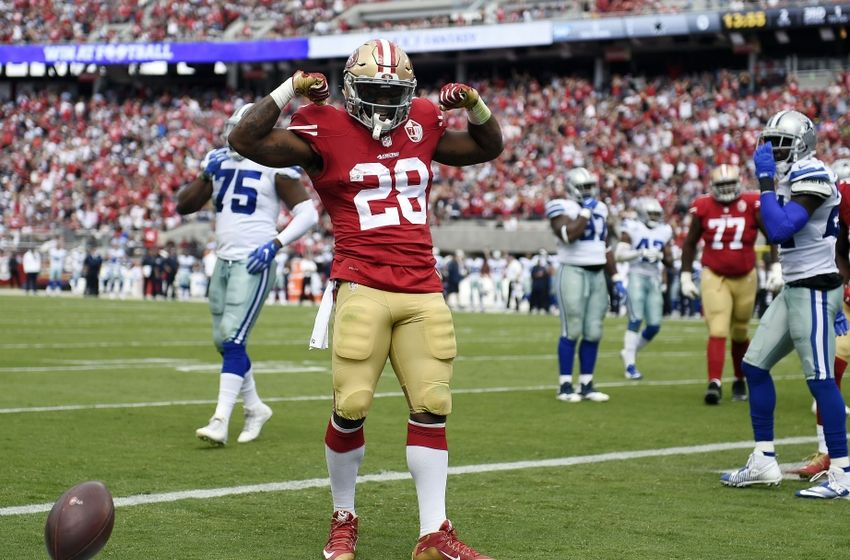 Oct 2, 2016; Santa Clara, CA, USA; San Francisco 49ers running back Carlos Hyde (28) celebrates after running in a touchdown during the second quarter vs Dallas.Mandatory Credit: Kelvin Kuo-USA TODAY Sports