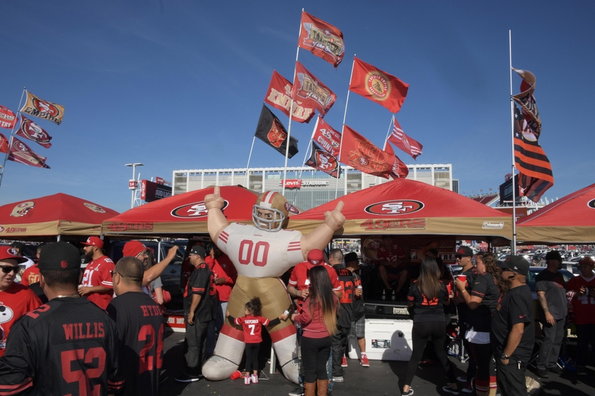 Oct 6, 2016; Santa Clara, CA, USA; San Francisco 49ers fans tailgate prior to the game against the Arizona Cardinals at Levi's Stadium. Mandatory Credit: Kirby Lee-USA TODAY Sports