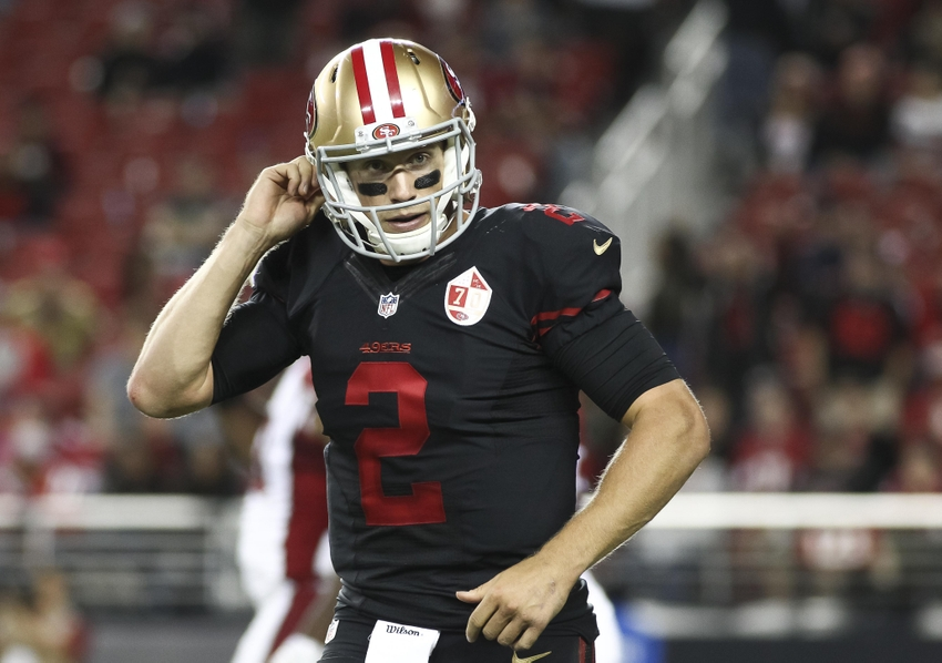 Oct 6, 2016; Santa Clara, CA, USA; San Francisco 49ers quarterback Blaine Gabbert (2) after an Arizona Cardinals safety during the fourth quarter at Levi's Stadium. The Arizona Cardinals defeated the San Francisco 49ers 33-21. Mandatory Credit: Kelley L Cox-USA TODAY Sports