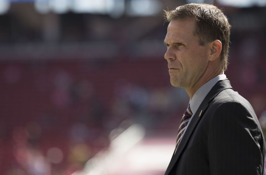 October 23, 2016; Santa Clara, CA, USA; San Francisco 49ers general manager Trent Baalke before the game against the Tampa Bay Buccaneers at Levi's Stadium. Mandatory Credit: Kyle Terada-USA TODAY Sports