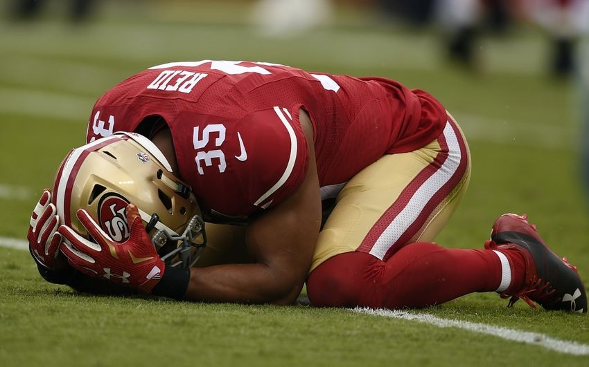 Oct 2, 2016; Santa Clara, CA, USA; San Francisco 49ers safety Eric Reid (35) reacts after missing an interception during the first quarter against the Dallas Cowboys at Levi's Stadium. Mandatory Credit: Kelvin Kuo-USA TODAY Sports