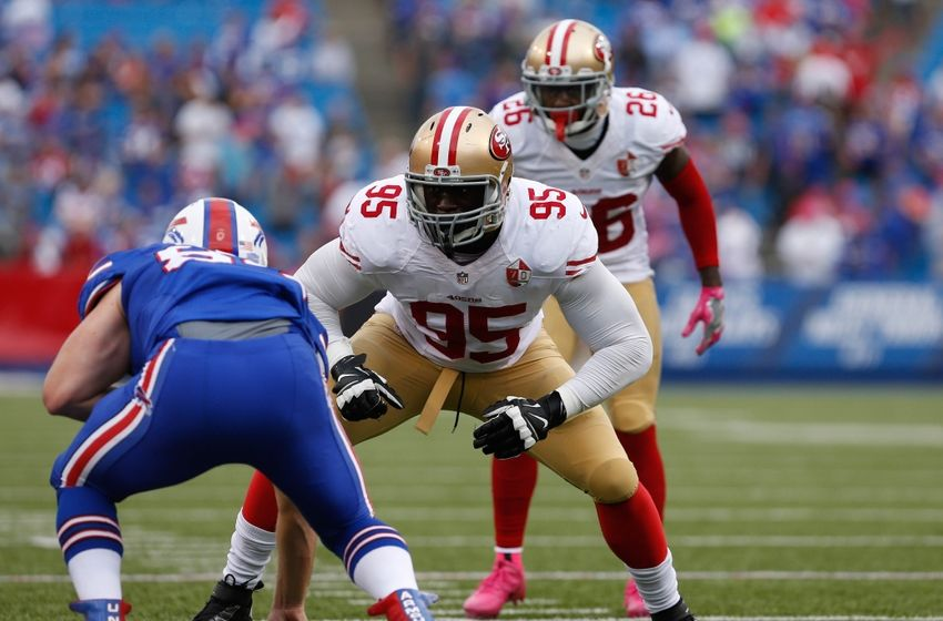 Oct 16, 2016; Orchard Park, NY, USA; San Francisco 49ers linebacker Tank Carradine (95) against the Buffalo Bills at New Era Field. Buffalo beats San Francisco 45 to 16. Mandatory Credit: Timothy T. Ludwig-USA TODAY Sports