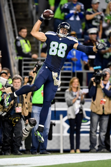 Nov 7, 2016; Seattle, WA, USA; Seattle Seahawks tight end Jimmy Graham (88) celebrates after scoring on a 17-yard touchdown pass in the first quarter against the Buffalo Bills during a NFL football game at CenturyLink Field. Mandatory Credit: Kirby Lee-USA TODAY Sports