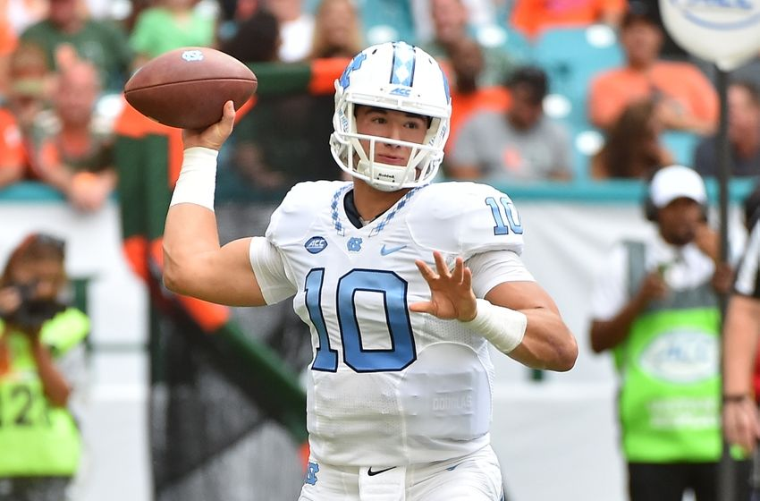 Oct 15, 2016; Miami Gardens, FL, USA; North Carolina Tar Heels quarterback Mitch Trubisky (10) attempts a pass against the Miami Hurricanes during the first half at Hard Rock Stadium. Mandatory Credit: Jasen Vinlove-USA TODAY Sports