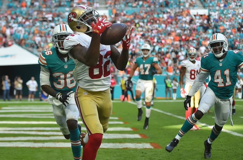 Nov 27, 2016; Miami Gardens, FL, USA; San Francisco 49ers wide receiver Torrey Smith (82) catches a pass for a touch down against the San Francisco 49ers during the second half at Hard Rock Stadium. The Miami Dolphins defeat the San Francisco 49ers 31-24. Mandatory Credit: Jasen Vinlove-USA TODAY Sports
