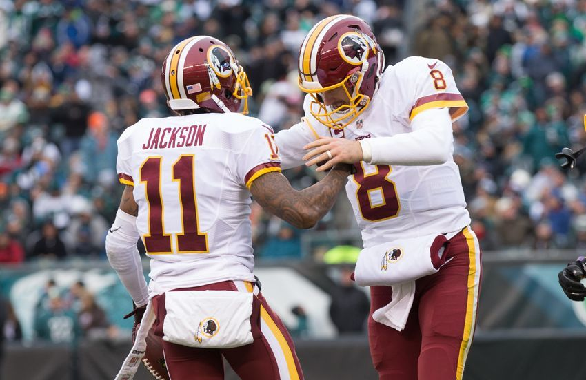 Dec 11, 2016; Philadelphia, PA, USA; Washington Redskins wide receiver DeSean Jackson (11) and quarterback Kirk Cousins (8) react after connecting on an 80 yard touchdown against the Philadelphia Eagles during the third quarter at Lincoln Financial Field. Mandatory Credit: Bill Streicher-USA TODAY Sports