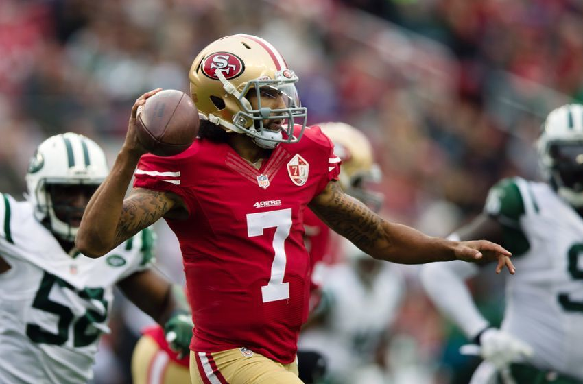 Dec 11, 2016; Santa Clara, CA, USA; San Francisco 49ers quarterback Colin Kaepernick (7) passes the ball against the New York Jets during the first quarter at Levi's Stadium. Mandatory Credit: Kelley L Cox-USA TODAY Sports