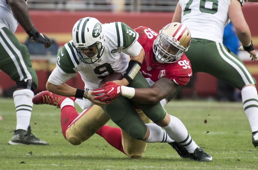December 11, 2016; Santa Clara, CA, USA; San Francisco 49ers defensive end DeForest Buckner (99) sacks New York Jets quarterback Bryce Petty (9) during the third quarter at Levi's Stadium. The Jets defeated the 49ers 23-17 in overtime. Mandatory Credit: Kyle Terada-USA TODAY Sports