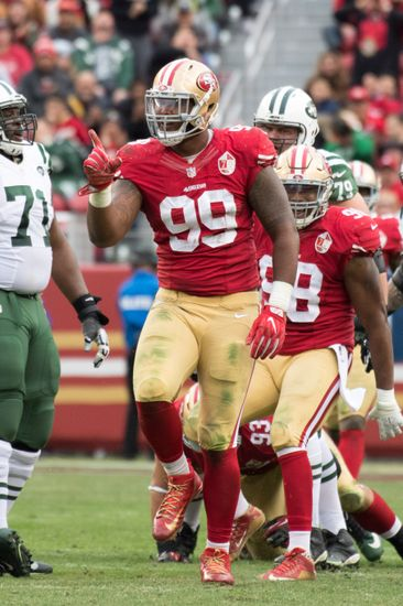 December 11, 2016; Santa Clara, CA, USA; San Francisco 49ers defensive end DeForest Buckner (99) during the third quarter against the New York Jets at Levi's Stadium. The Jets defeated the 49ers 23-17 in overtime. Mandatory Credit: Kyle Terada-USA TODAY Sports