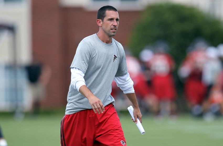 Jun 17, 2015; Atlanta, GA, USA; Atlanta Falcons offensive coordinator Kyle Shanahan coaches during minicamp at Falcons Training Facility. Mandatory Credit: Brett Davis-USA TODAY Sports