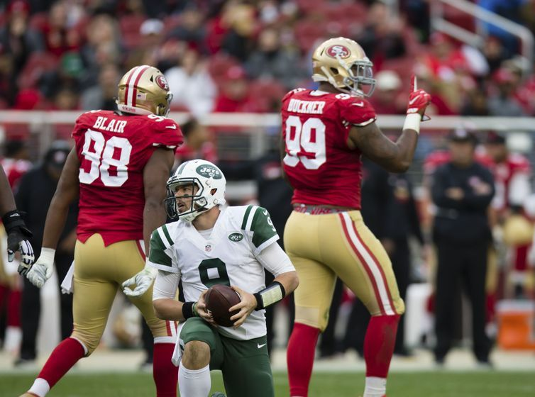 Dec 11, 2016; Santa Clara, CA, USA; New York Jets quarterback Bryce Petty (9) after being sacked by San Francisco 49ers defensive end DeForest Buckner (99) during the third quarter at Levi's Stadium. The New York Jets defeated the San Francisco 49ers 23-17. Mandatory Credit: Kelley L Cox-USA TODAY Sports