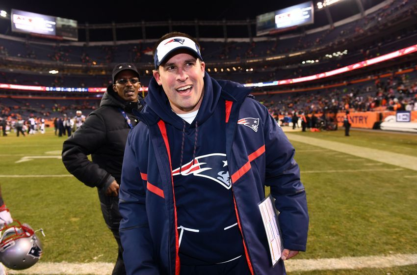 Dec 18, 2016; Denver, CO, USA; New England Patriots Josh McDaniels offensive coordinator reacts as he leaves the field following the win against the Denver Broncos at Sports Authority Field. The Patriots defeated the Broncos 16-3. Mandatory Credit: Ron Chenoy-USA TODAY Sports