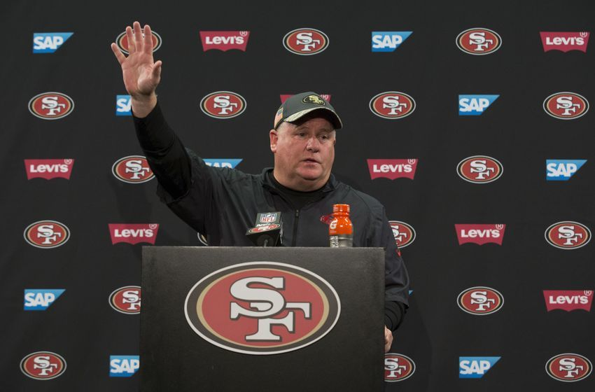 Jan 1, 2017; Santa Clara, CA, USA; San Francisco 49ers head coach Chip Kelly addresses the media after the game against the Seattle Seahawks at Levis Stadium Seahawks defeated the 49ers 25-23. Mandatory Credit: Neville E. Guard-USA TODAY Sports