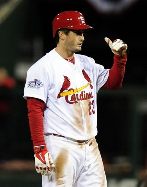 Oct 28, 2013; St. Louis, MO, USA; St. Louis Cardinals third baseman David Freese (23) reacts after a double against the Boston Red Sox during the eighth inning of game five of the MLB baseball World Series at Busch Stadium. (Photo Credit: Jeff Curry-USA TODAY Sports)