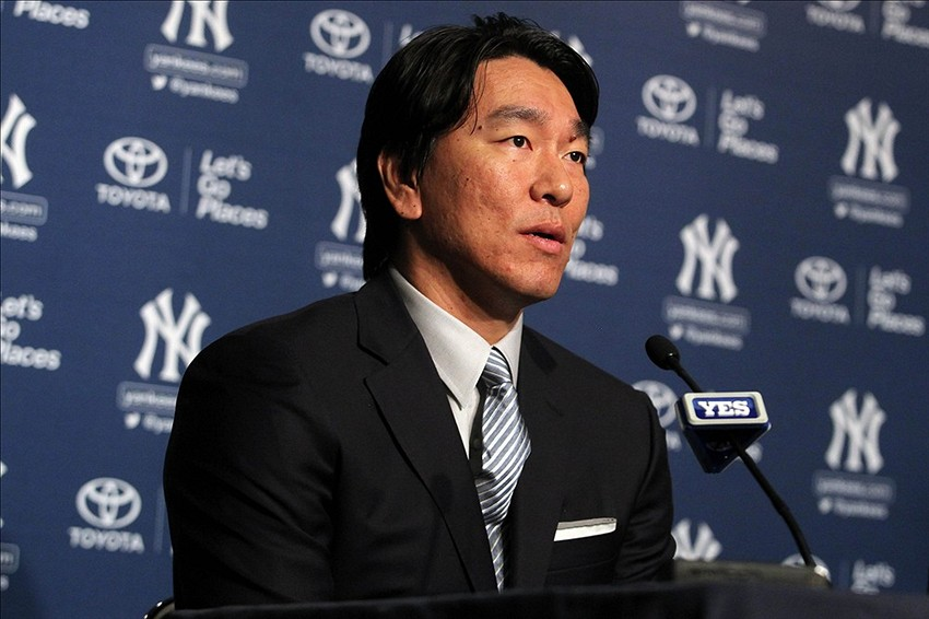 Jul 28, 2013; Bronx, NY, USA; New York Yankees former player Hideki Matsui speaks during a press conference before a game between the New York Yankees and the Tampa Bay Rays at Yankee Stadium. Mandatory Credit: Brad Penner-USA TODAY Sports