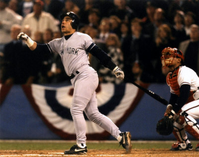 Yankees' World Series hero Jim Leyritz hits a game-tying home run in Game 4 of the 1996 World Series.