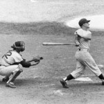 Roger Maris as he belts record-breaking home run #61, passing Babe Ruth on the single-season list. (Photo courtest SportsThenAndNow.com)