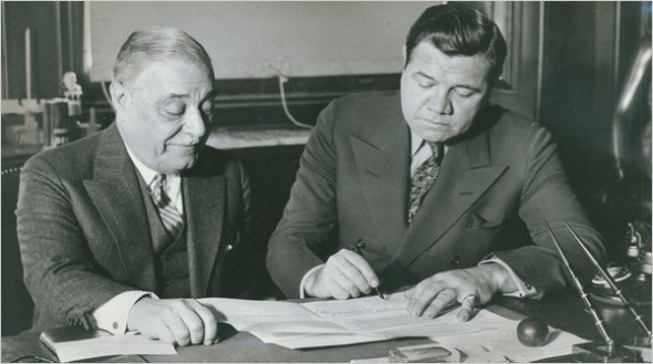 Yankees owner Jacob Ruppert with Babe Ruth, as they agree to a contract for 1934. (Photo courtesy NY Times)