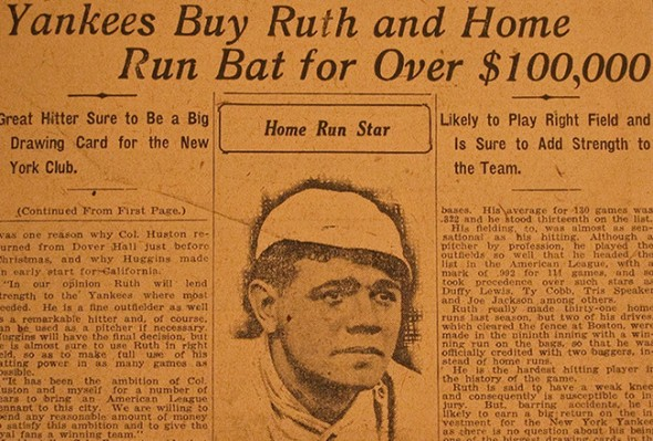 Newspaper from the sale of Babe Ruth, December 1919. Photo courtesy of Sports Illustrated.