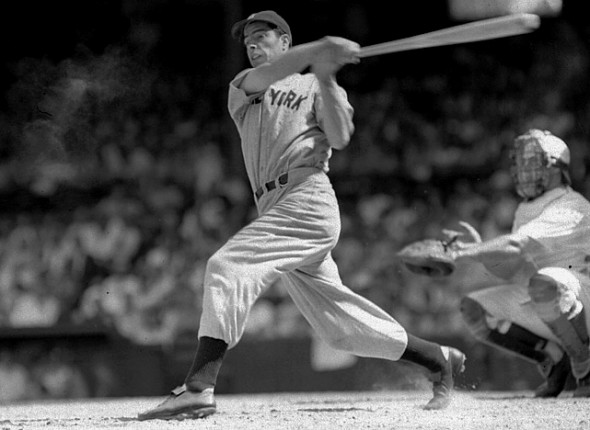 Joe DiMaggio during his 56-game hitting streak in 1941. Mandatory Credit: Wall Street Journal.