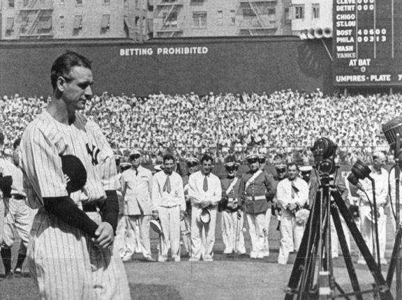 Lou Gehrig at Yankee Stadium, July 4th, 1939. Mandatory Credit: Getty Images.