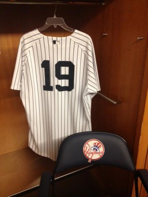 The Yankees unveiled Masahiro Tanaka's pinstriped jersey #19. Mandatory Credit: New York Yankees Official Twitter Page