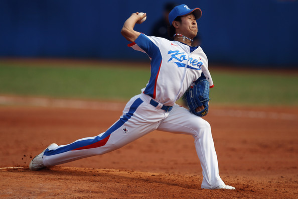 Korean starting pitcher Suk-min Yoon. Mandatory Credit: Hannah Johnston/Getty Images AsiaPac