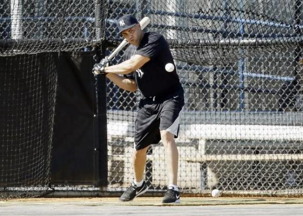 Yankees outfielder Carlos Beltran working out in Tampa. Mandatory Credit: Charlie Neibergall/AP
