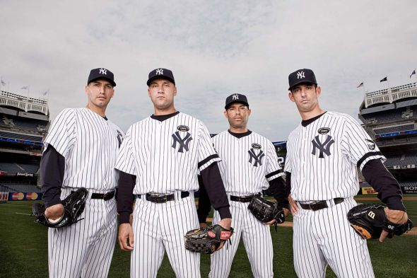 "The ""Core Four"" of Andy Pettitte, Derek Jeter, Mariano Rivera, and Jorge Posada. Mandatory Credit: Yankees.com"