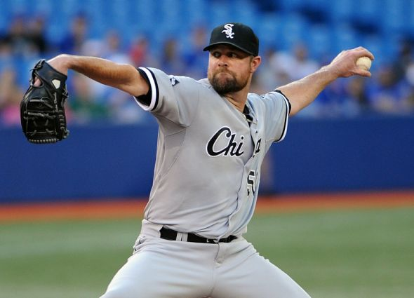 Jun 27, 2014; Toronto, Ontario, CAN; Chicago White Sox starting pitcher John Danks delivers a pitch against Toronto Blue Jays at Rogers Centre. Mandatory Credit: Dan Hamilton-USA TODAY Sports