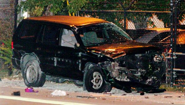 The victim's vehicle in the Leyritz car accident. Mandatory Credit: nydailynews.com