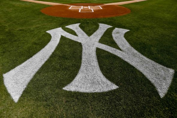 Feb 28, 2013; Tampa, FL, USA; A detail of a New York Yankees logo painted on the field for a spring training game against the Toronto Blue Jays at George Steinbrenner Field. Mandatory Credit: Derick E. Hingle-USA TODAY Sports
