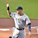Jul 10, 2014; Cleveland, OH, USA; New York Yankees shortstop Derek Jeter (2) waves during a pre-game ceremony in his honor at Progressive Field. Mandatory Credit: David Richard-USA TODAY Sports