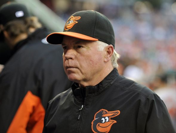 Aug 4, 2014; Washington, DC, USA; Baltimore Orioles manager Buck Showalter (26) prior to a game against the Washington Nationals at Nationals Park. Mandatoryi Credit: Joy R. Absalon-USA TODAY Sports